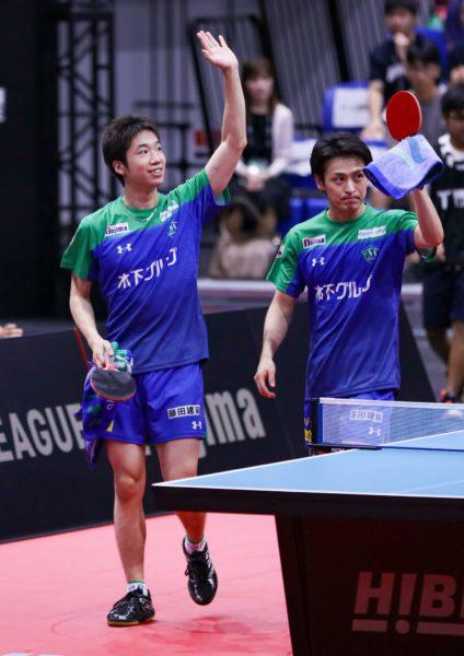 <3位>水谷隼選手(写真左) (写真提供:みのうえさん /twitter @mmminoue )