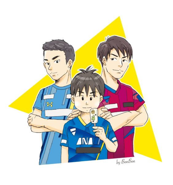 「(左上)上田仁選手、(右上)松平賢二選手、(センター)丹羽孝希選手」〈BonBon〉さん